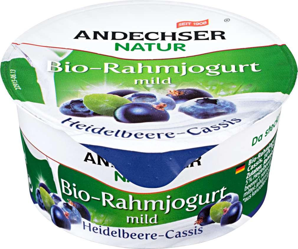 Abbildung des Sortimentsartikels Andechser Bio-Rahmjogurt mild Heidelbeer-Cassis150g