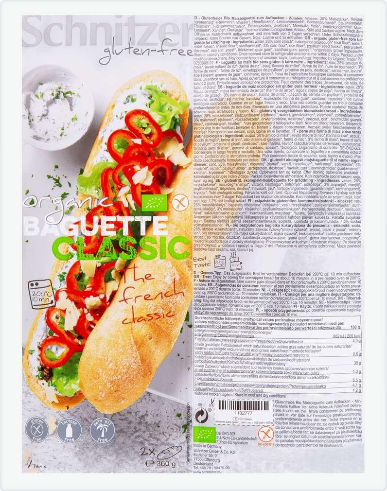 Abbildung des Sortimentsartikels Schnitzer Bio-Baguette Classic lfgf 2x180g