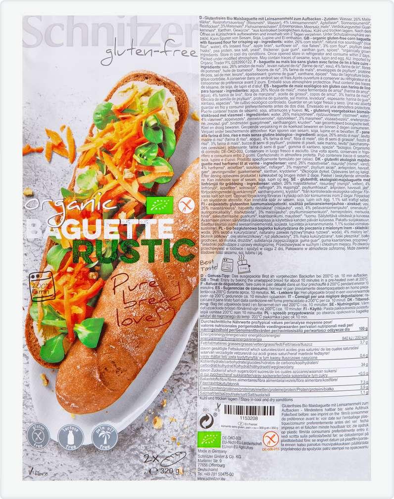 Abbildung des Sortimentsartikels Schnitzer Bio-Baguette Rustic lfgf 2x160g
