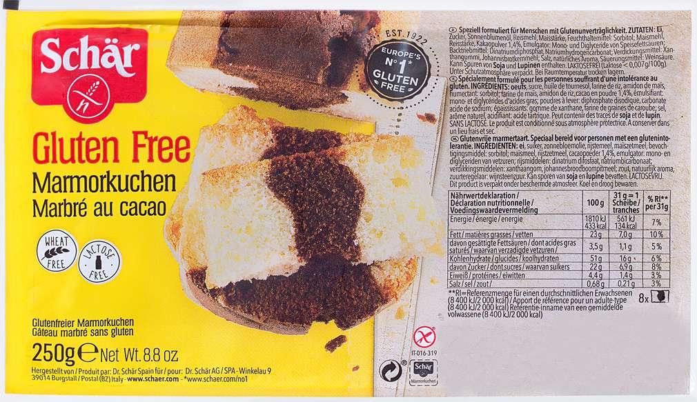 Abbildung des Sortimentsartikels Schär Marmorkuchen glutenfrei 250g