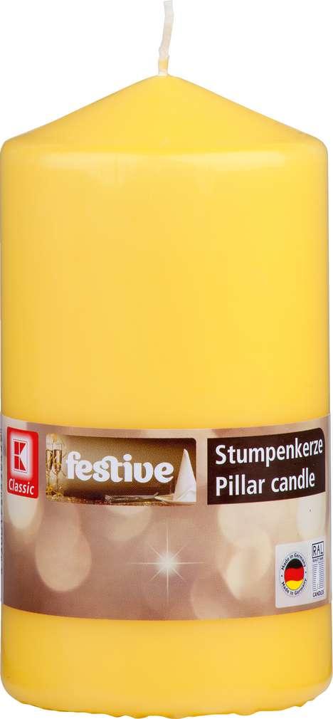 Abbildung des Sortimentsartikels K-Classic Edelstumpenkerze gelb 15x8cm