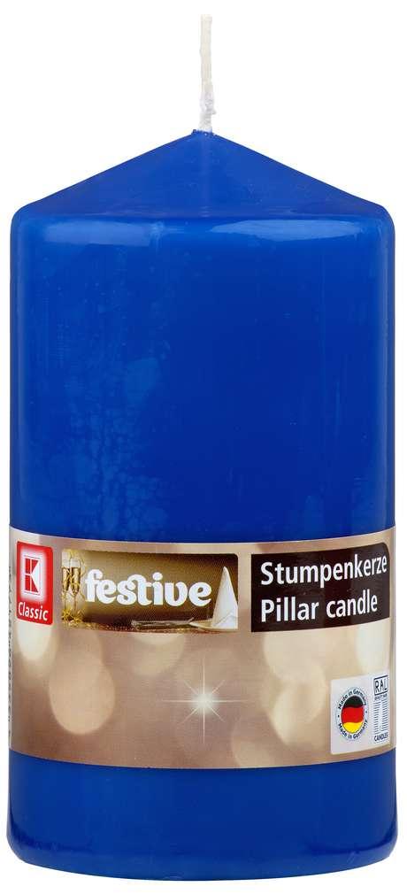 Abbildung des Sortimentsartikels K-Classic Edelstumpenkerze blau 15x8cm
