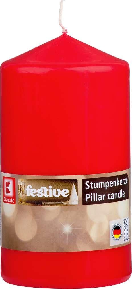 Abbildung des Sortimentsartikels K-Classic Edelstumpenkerze rot 15x8cm