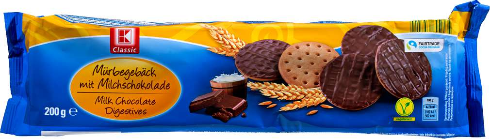 Abbildung des Sortimentsartikels K-Classic Mürbeteiggebäck Milchschokolade 200g