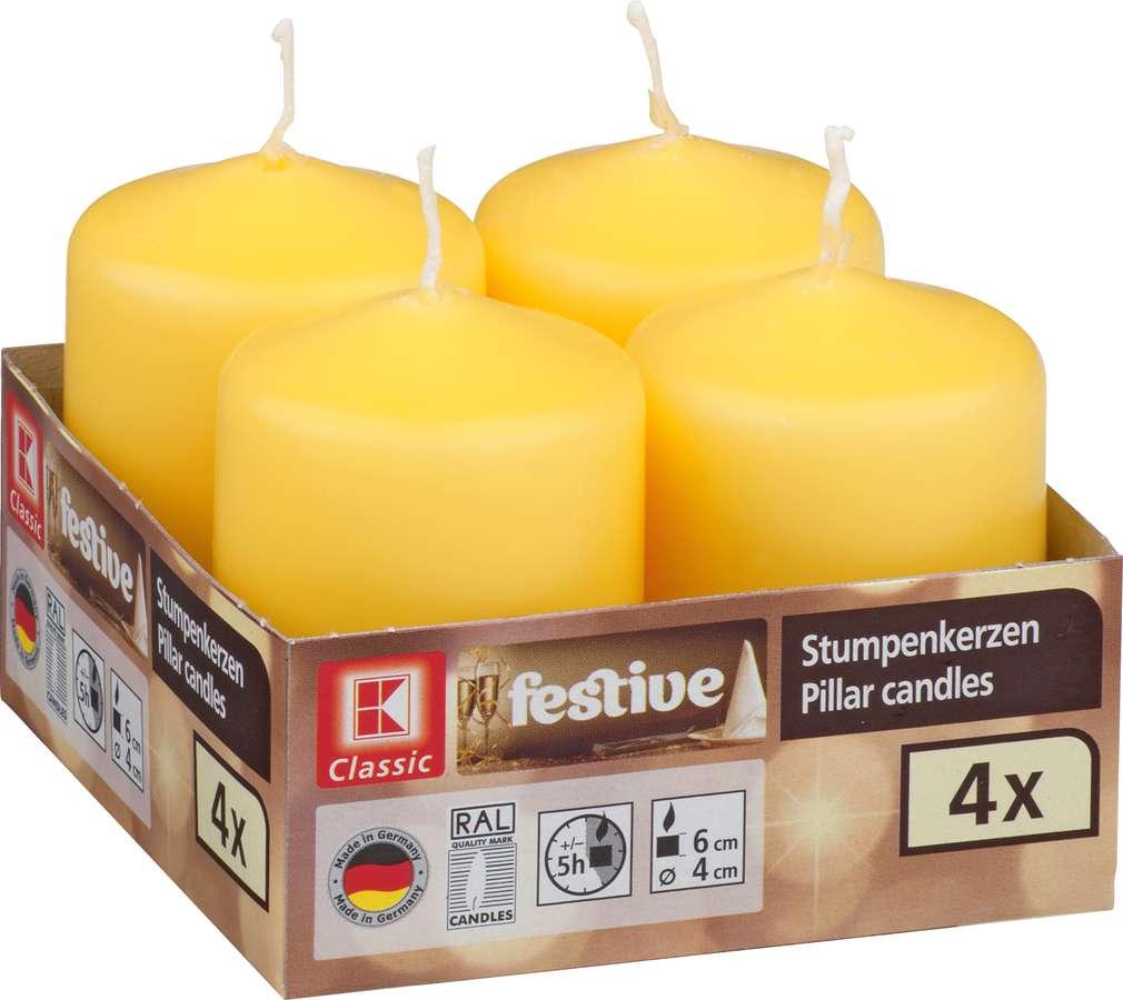 Abbildung des Sortimentsartikels K-Classic Edelstumpenkerze gelb 6x4cm 4 Stück