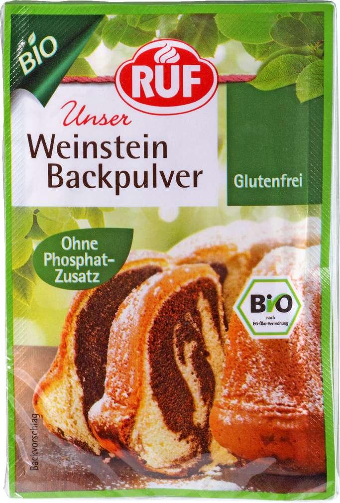 Abbildung des Sortimentsartikels Ruf Bio Weinstein Backpulver 3x20g