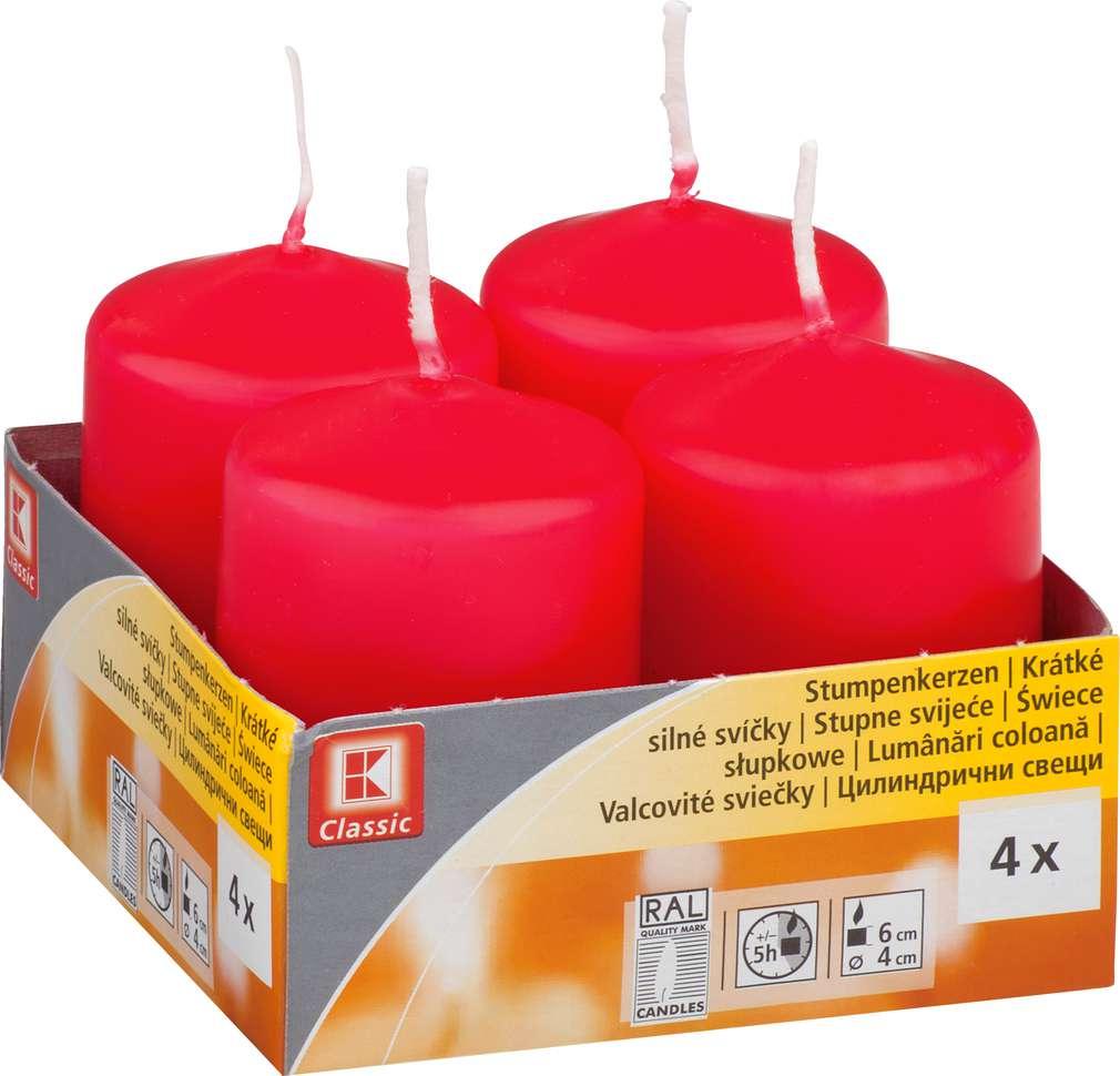 Abbildung des Sortimentsartikels K-Classic Edelstumpenkerze rot 6x4cm 4 Stück