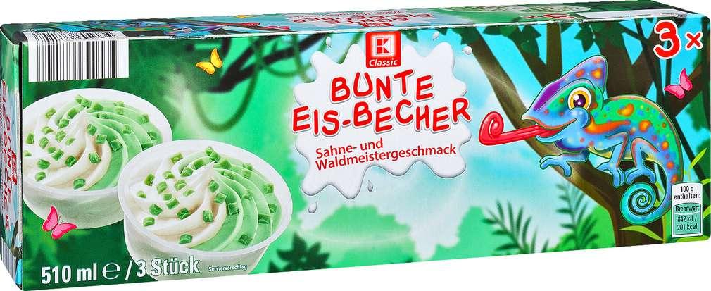 Abbildung des Sortimentsartikels K-Classic Bunte Eis-Becher Sahne- und Waldmeistergeschmack 3x170ml
