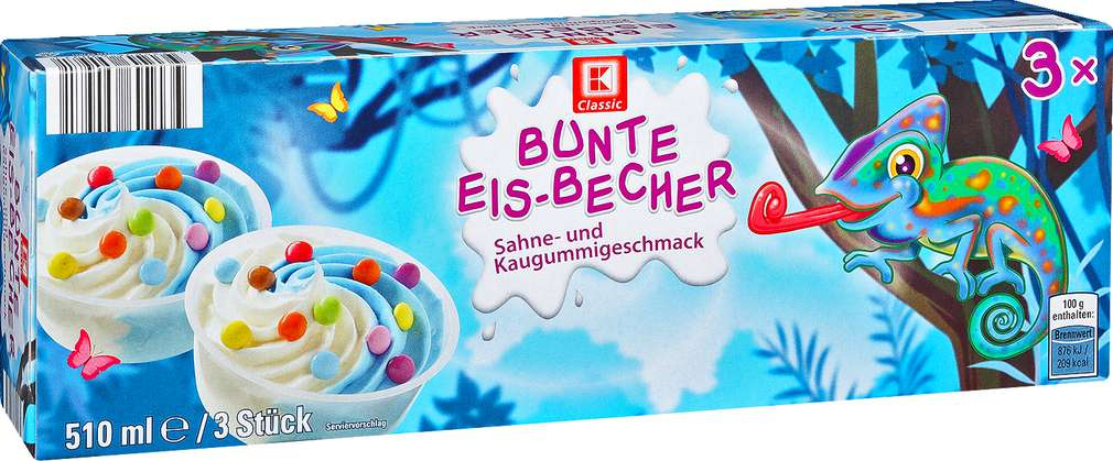 Abbildung des Sortimentsartikels K-Classic Bunte Eis-Becher Sahne- und Kaugummigeschmack 3x170ml