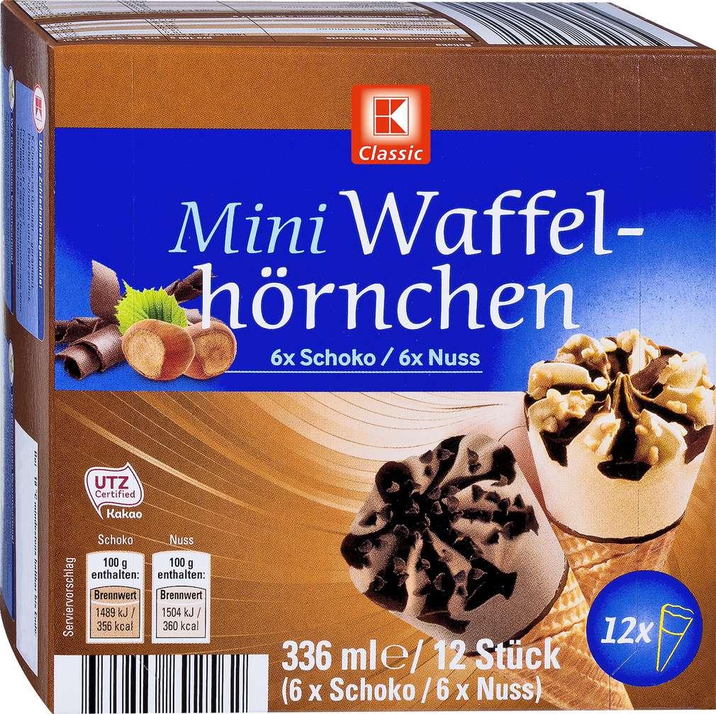 Abbildung des Sortimentsartikels K-Classic Mini Waffelhörnchen Schoko/Nuss 12x28ml