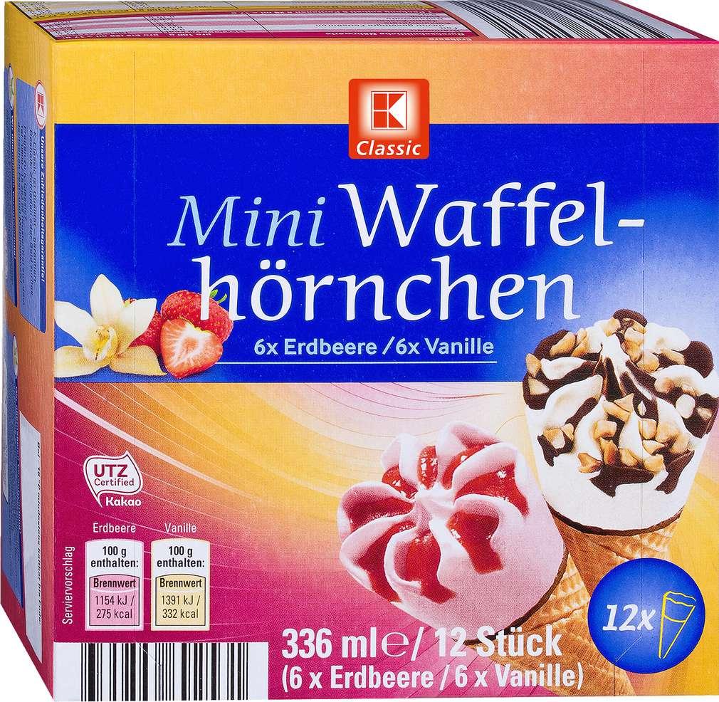 Abbildung des Sortimentsartikels K-Classic Mini Waffelhörnchen Erdbeere/Vanille 12x28ml