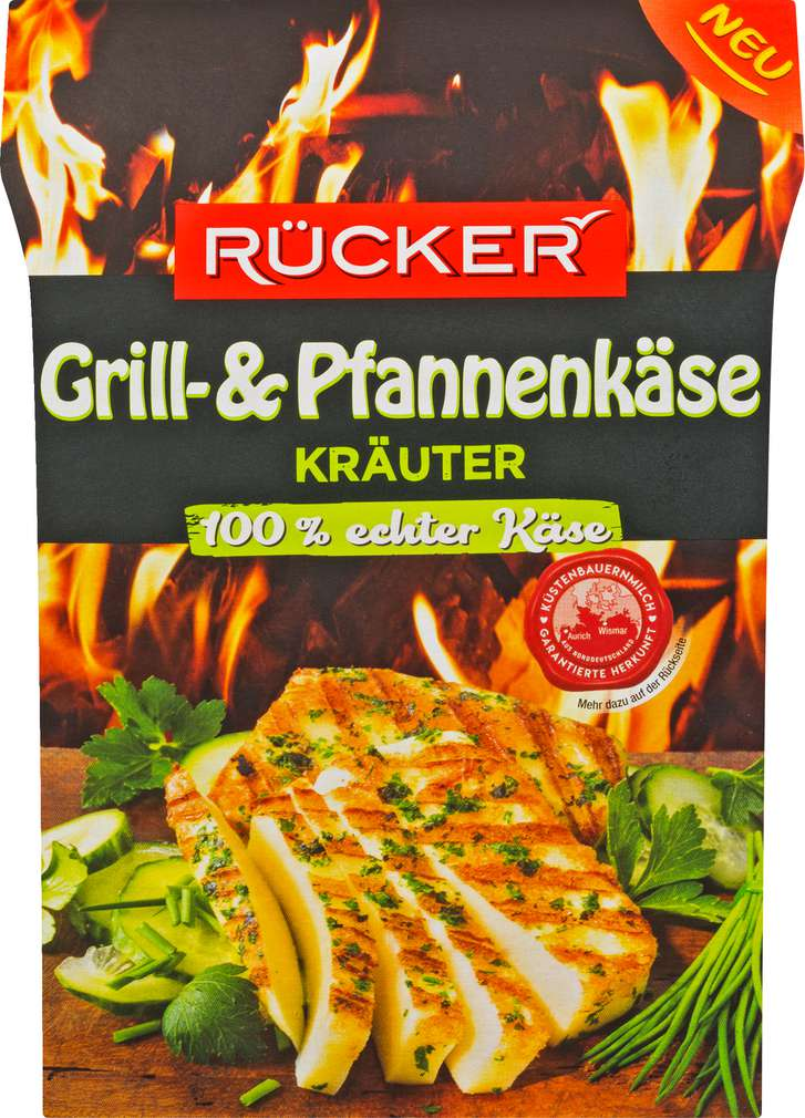 Abbildung des Sortimentsartikels Rücker Grillkäse Kräuter halbfester Schnittkäse 45% Fett i.Tr. 150g