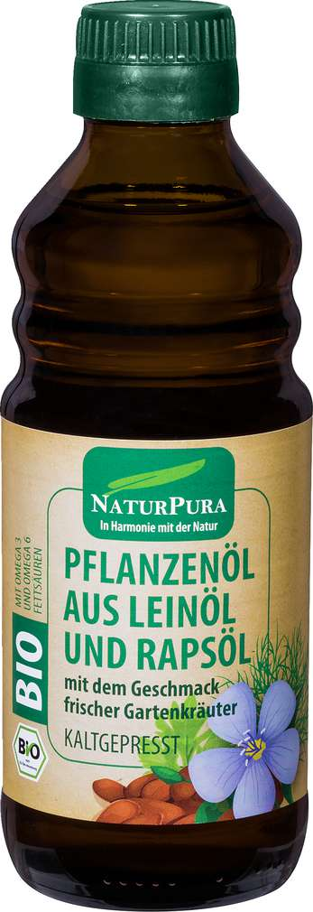 Abbildung des Sortimentsartikels NaturPura Bio-Leinöl Kräuter kaltgepresst 250ml