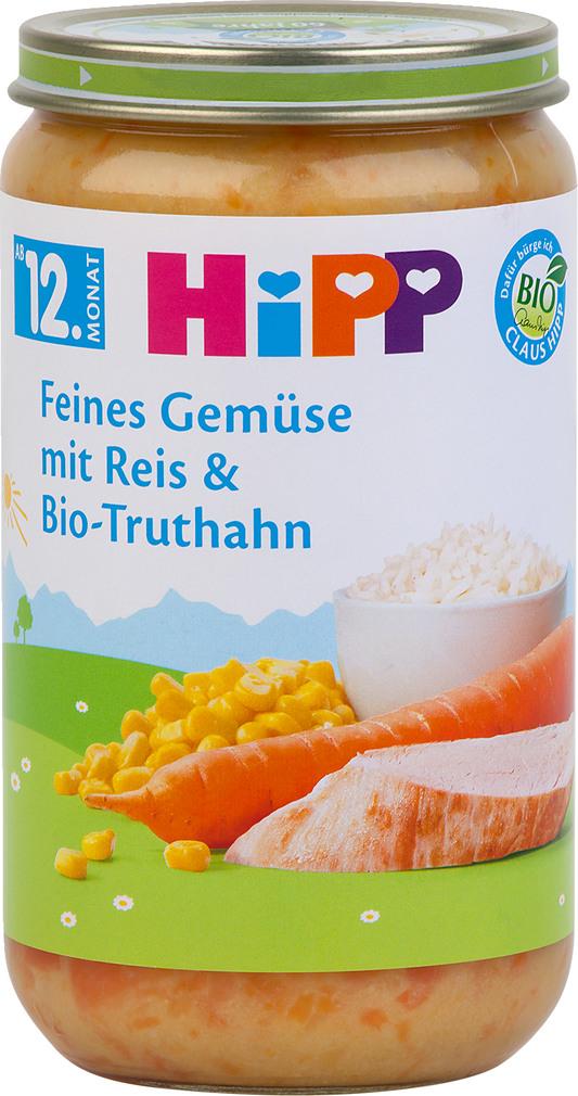 Abbildung des Sortimentsartikels Hipp Feines Gemüse mit Reis und Bio-Truthahn 250g
