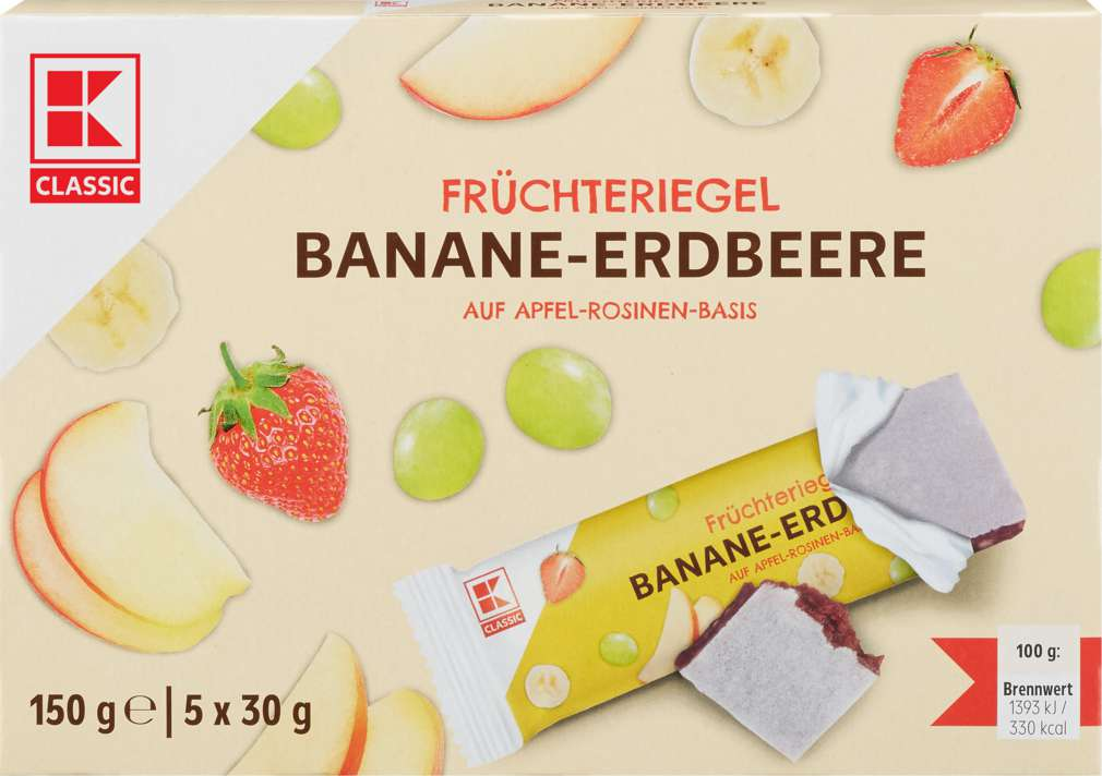 Abbildung des Sortimentsartikels K-Classic Früchteriegel Banane-Erdbeere 5x30g