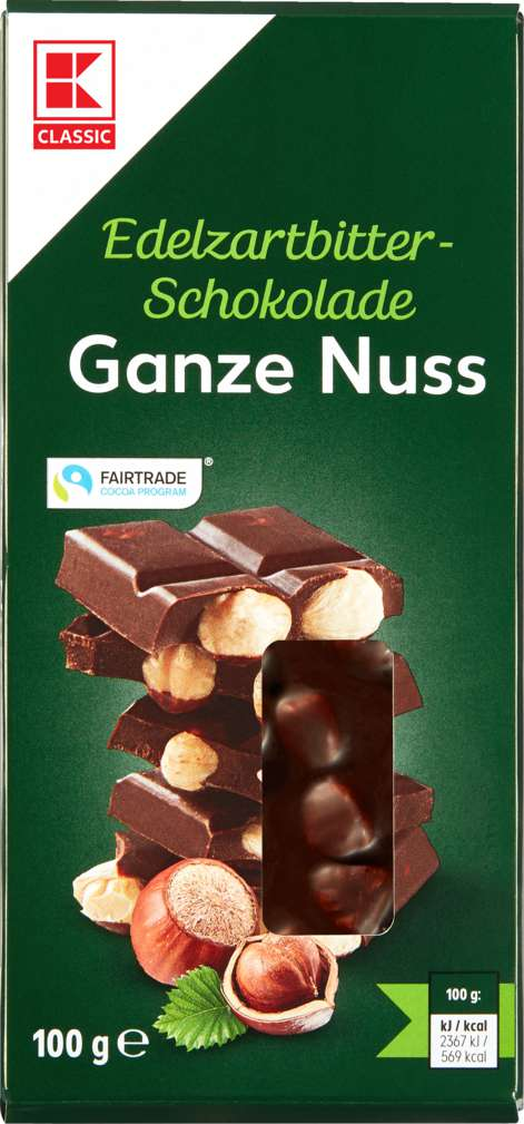 Abbildung des Sortimentsartikels K-Classic Schokolade Zartbitter Ganz Nuss 100g
