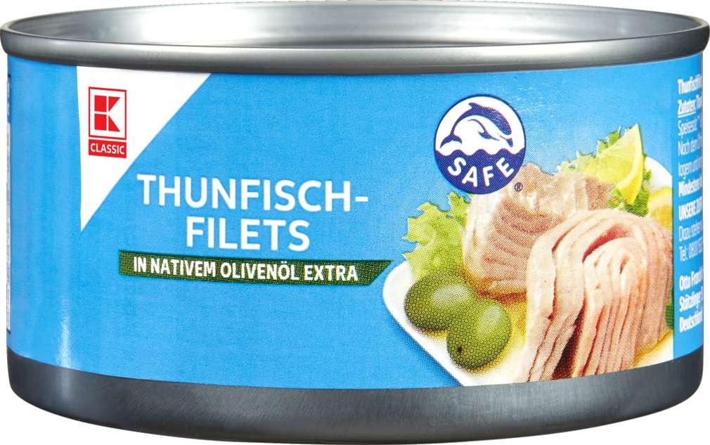 Abbildung des Sortimentsartikels K-Classic Thunfischfilets in Olivenöl 185g
