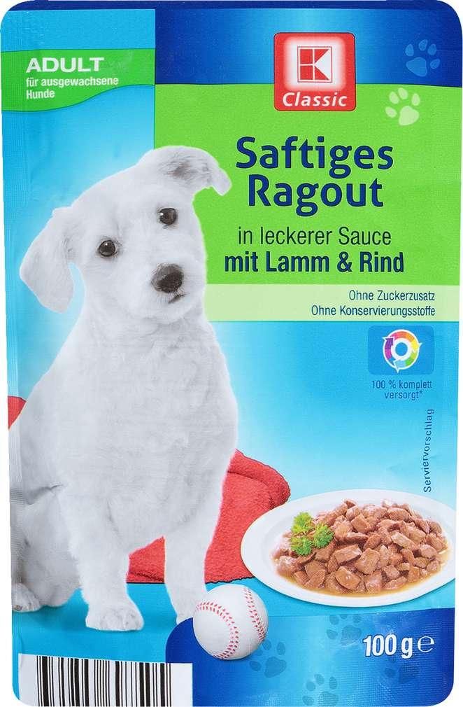 Abbildung des Sortimentsartikels K-Classic Hundenahrung Ragout Lamm & Rind 100g
