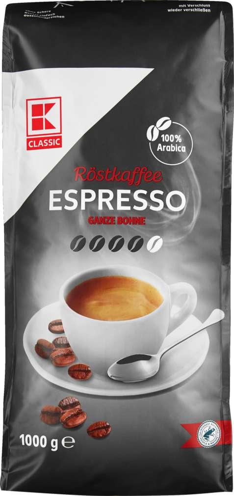 Abbildung des Sortimentsartikels K-Classic Kaffee Espresso Ganze Bohne 1000g