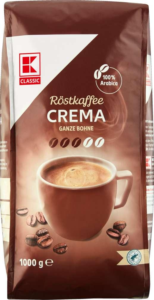 Abbildung des Sortimentsartikels K-Classic Kaffee Crema Ganze Bohne 1000g
