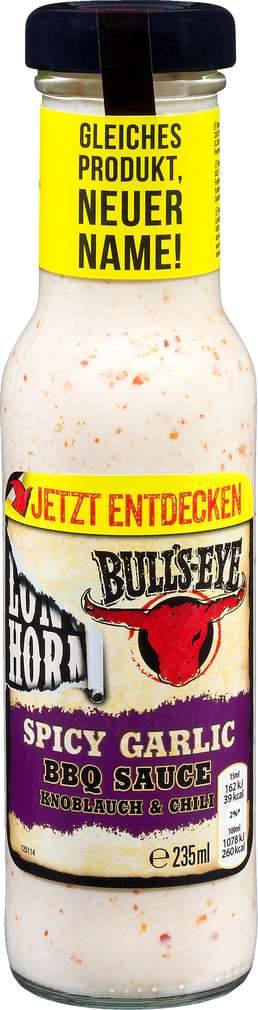 Abbildung des Sortimentsartikels Bulls-Eye BBQ-Soße Knoblauch & Chili 235ml
