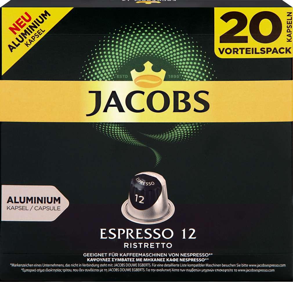Abbildung des Sortimentsartikels Jacobs Espresso 12 Ristretto 104g, 20 Kapseln
