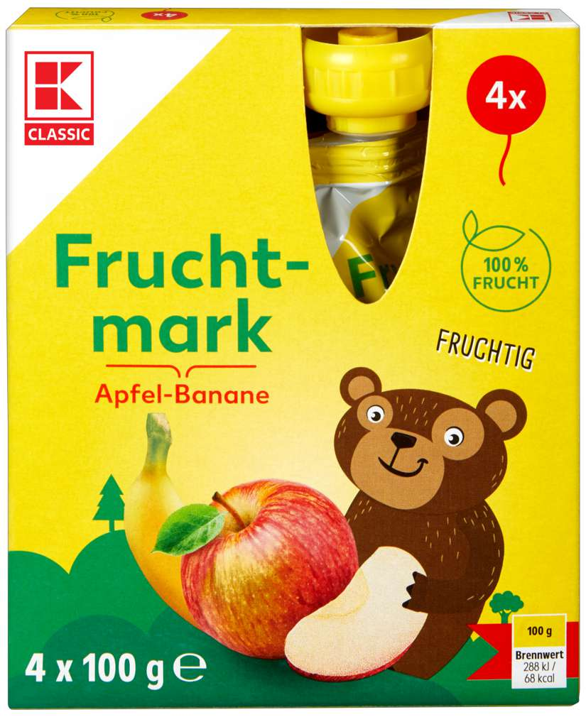 Abbildung des Sortimentsartikels K-Classic Fruchtmark Apfel-Banane 4x100g