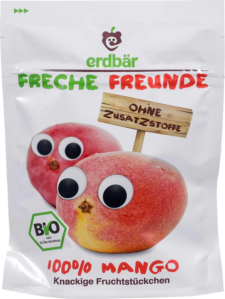 Abbildung des Sortimentsartikels Erdbär Freche Freunde 100% Mango knackige Fruchstückchen 14g