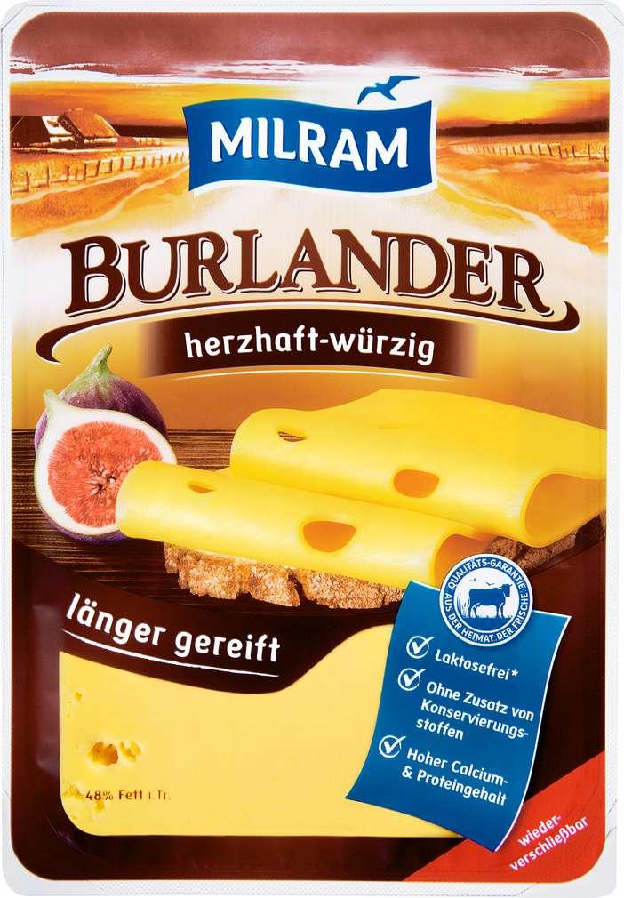 Abbildung des Sortimentsartikels Dmk Milram Burlander Schnittkäse herzhaft 48% Fett i.Tr. 150g