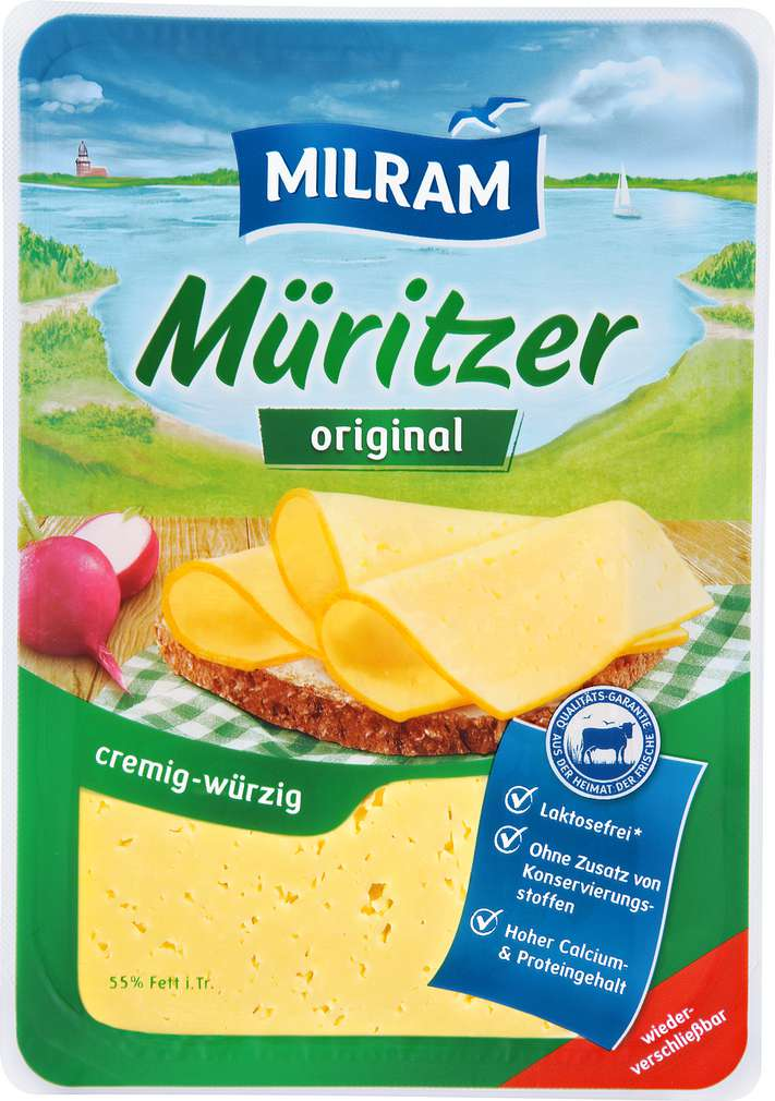 Abbildung des Sortimentsartikels Dmk Milram Müritzer Schnittkäse 55% Fett i.Tr. 150g
