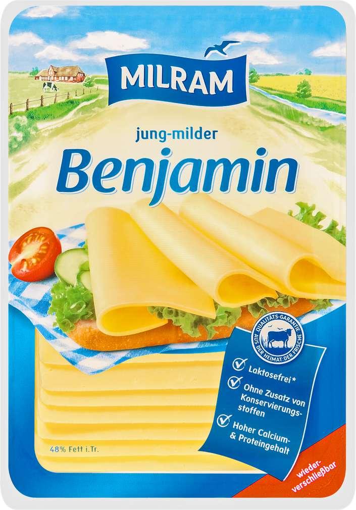 Abbildung des Sortimentsartikels Dmk Milram Benjamin Schnittkäse 48% Fett i.Tr. 150g
