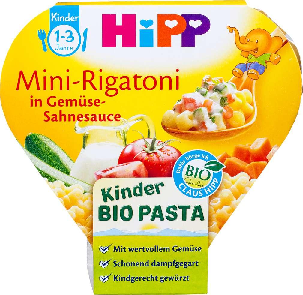 Abbildung des Sortimentsartikels Hipp Kinder Bio Pasta Mini-Rigatoni in Gemüse-Sahnesauce 250g