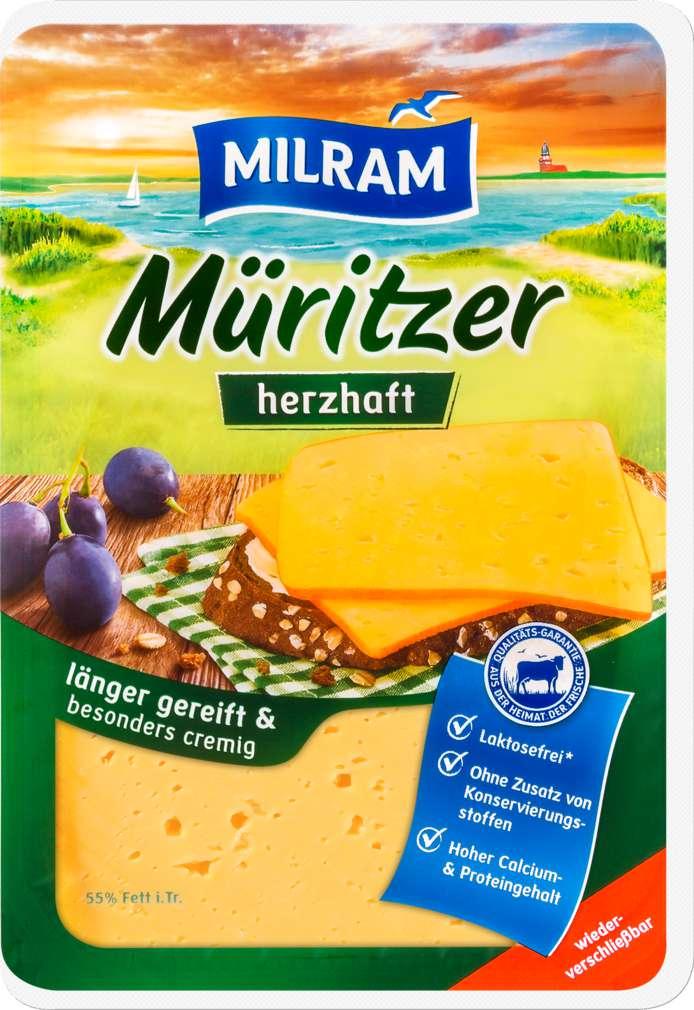 Abbildung des Sortimentsartikels Dmk Milram Müritzer Schnittkäse herzhaft 55% Fett i.Tr. 150g