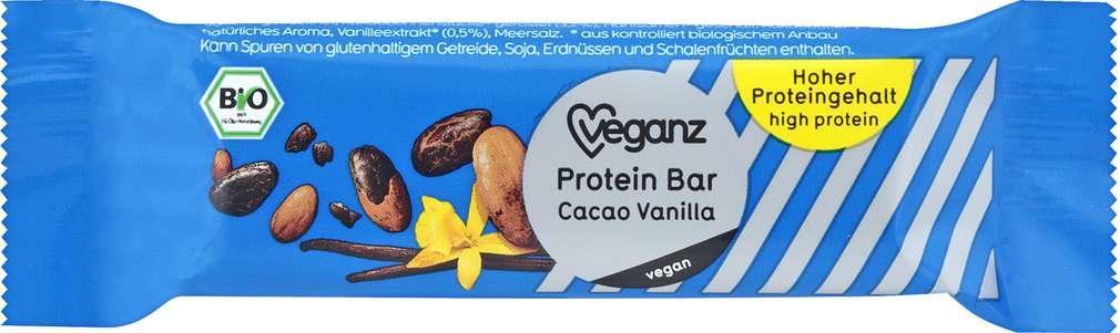 Abbildung des Sortimentsartikels Veganz Bio-Protein-Bar Cacao-Vanilla 45g