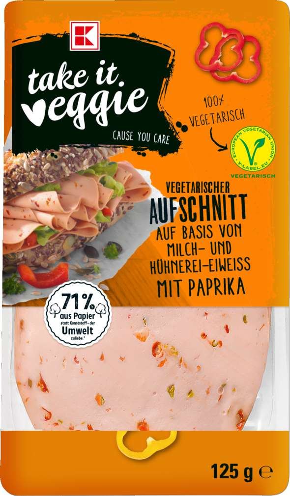 Abbildung des Sortimentsartikels K-Take it Veggie Vegetarischer Aufschnitt mit Paprika 125g