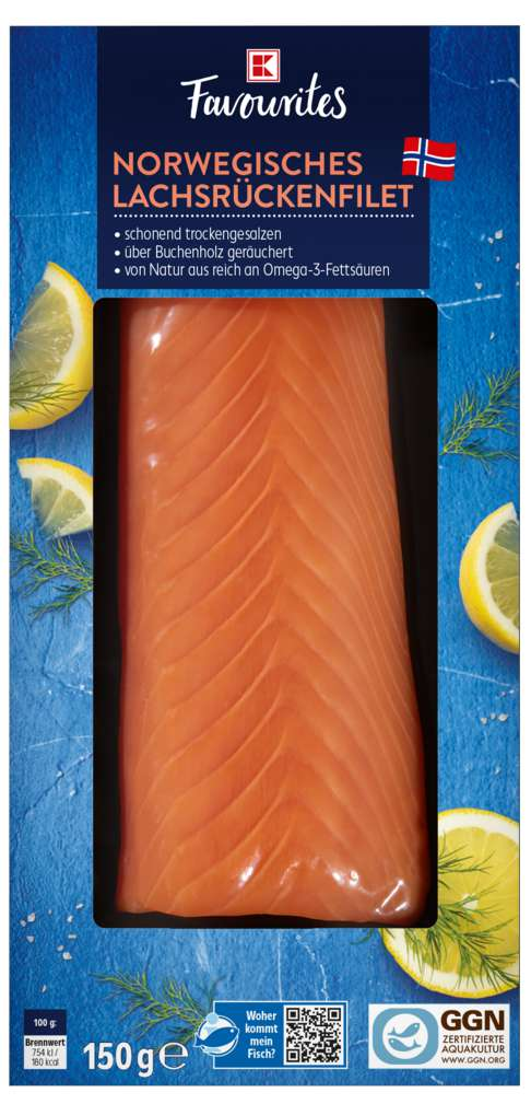 Abbildung des Sortimentsartikels K-Favourites Norwegisches Lachsrückenfilet 150g