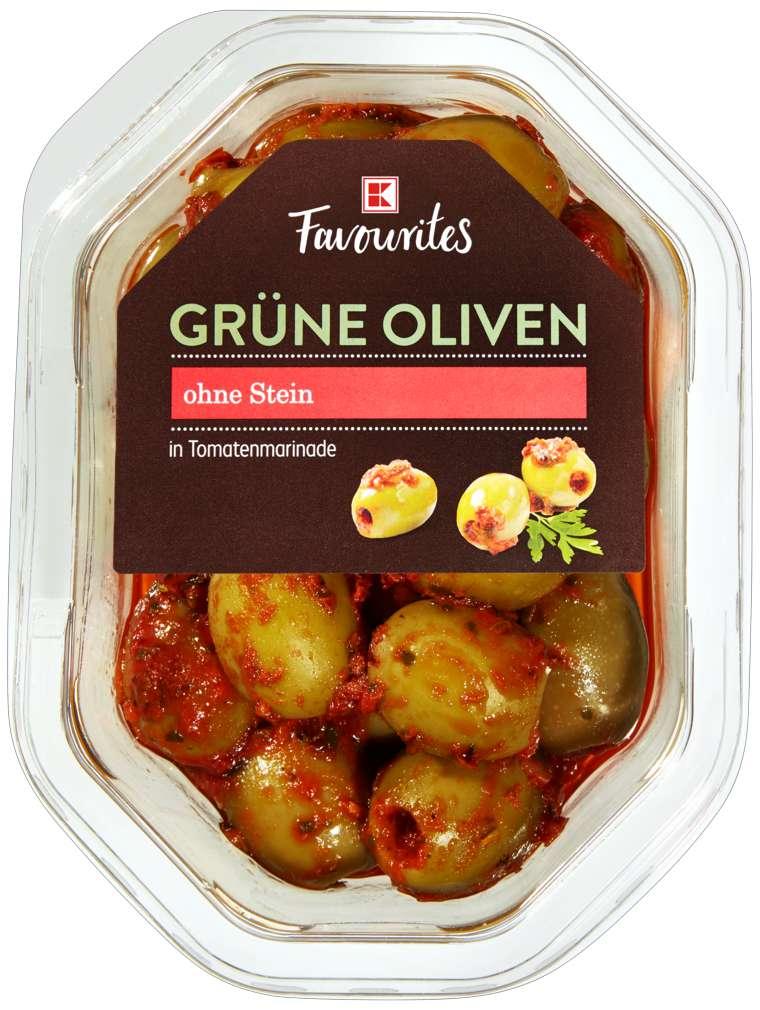 Abbildung des Sortimentsartikels K-Favourites grüne Oliven mit Tomatenmarinade 165g