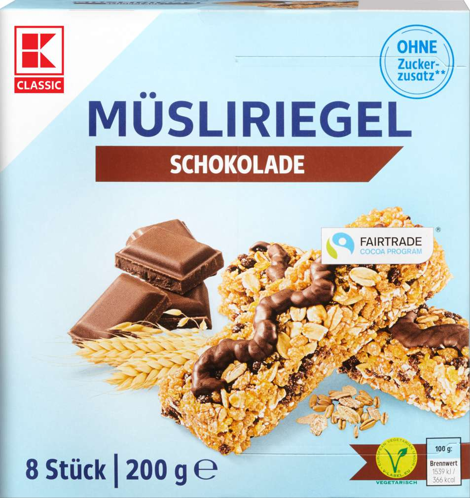 Abbildung des Sortimentsartikels K-Classic Müsliriegel Schoko free 200g