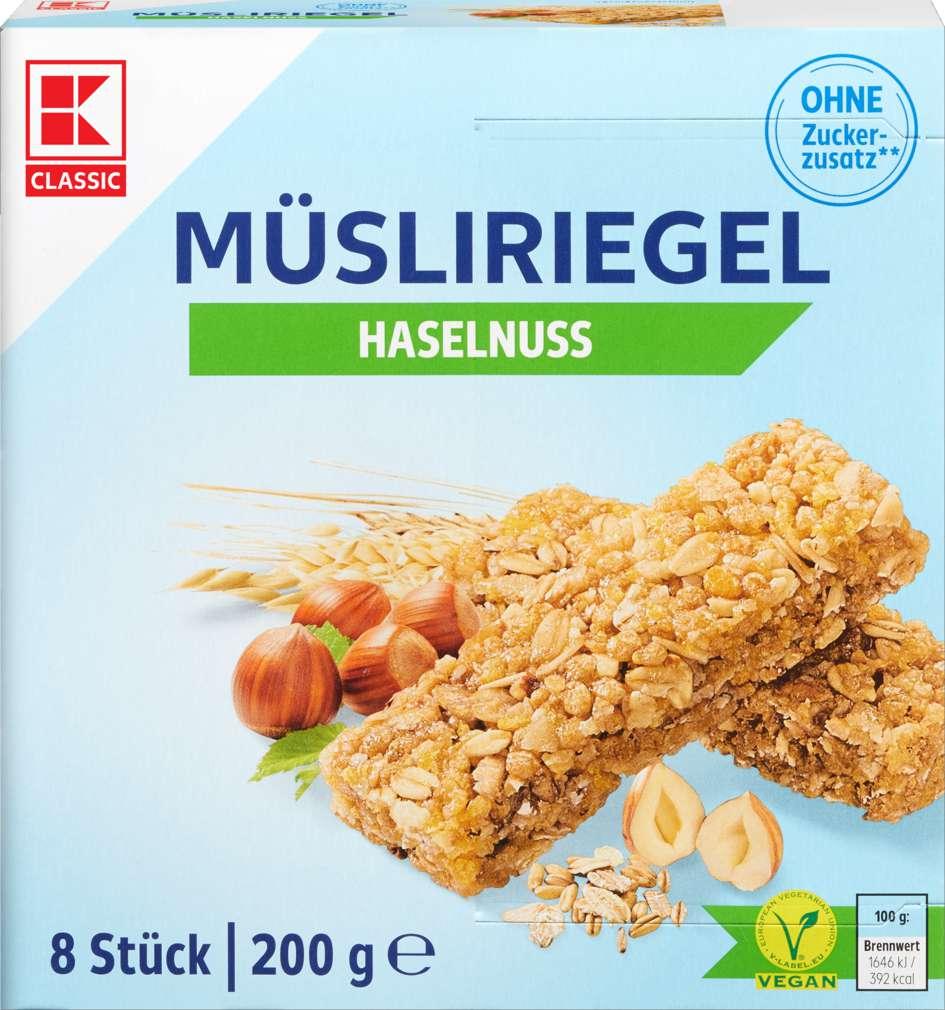 Abbildung des Sortimentsartikels K-Classic Müsliriegel Haselnuss free 200g