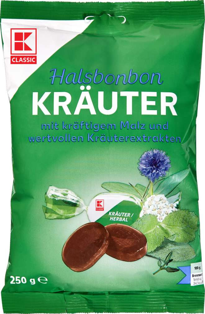 Abbildung des Sortimentsartikels K-Classic Halsbonbon Kräuter 250g