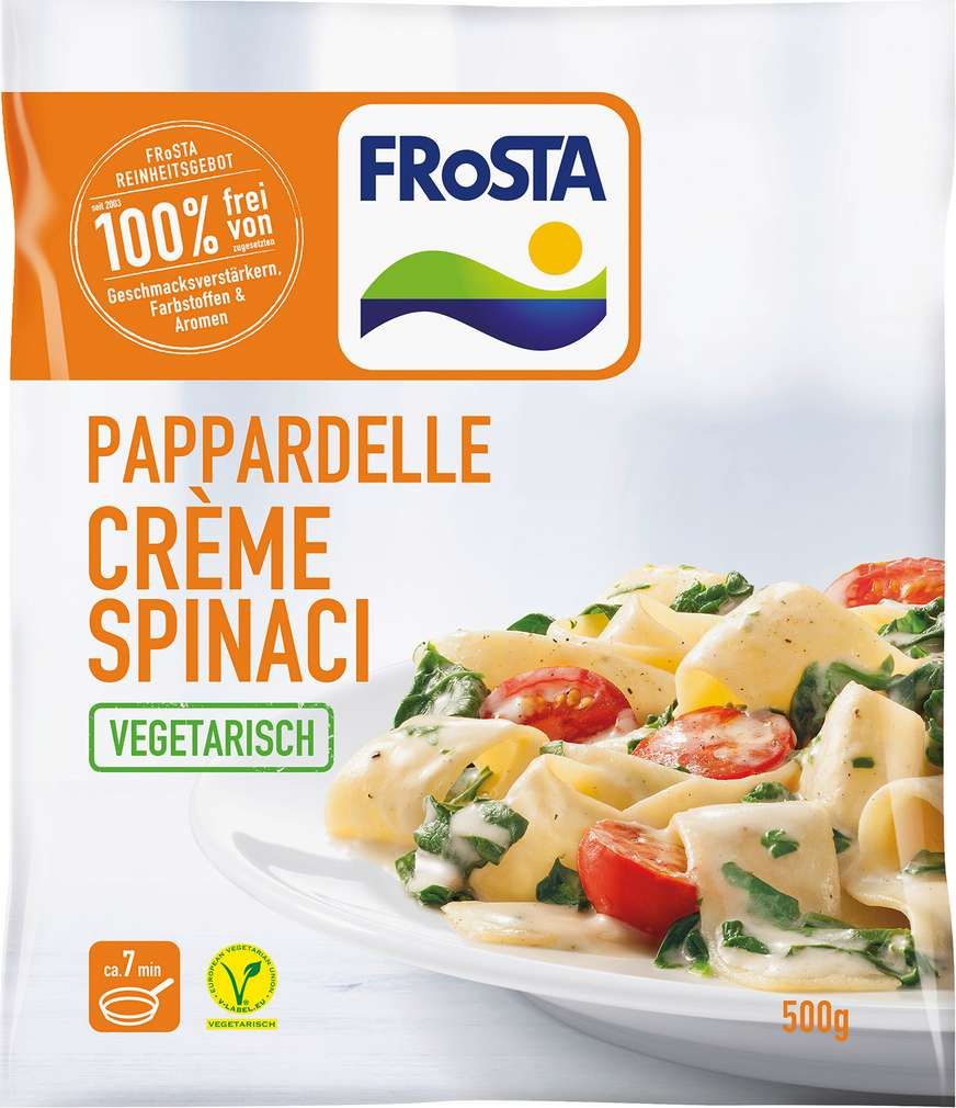 Abbildung des Sortimentsartikels Frosta Pappardelle Crème Spinaci 500g