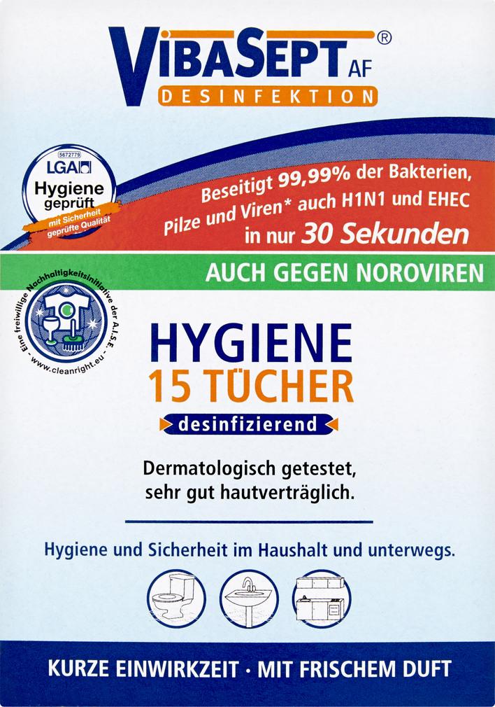 Abbildung des Sortimentsartikels VibaSept Desinfektion Hygiene Tücher 15 Stück