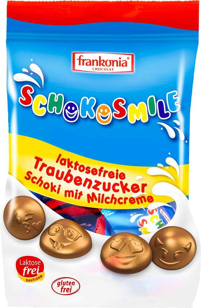 Abbildung des Sortimentsartikels Frankonia Chocolat Schokosmile Traubenzucker Schoki mit Milchcreme 120g
