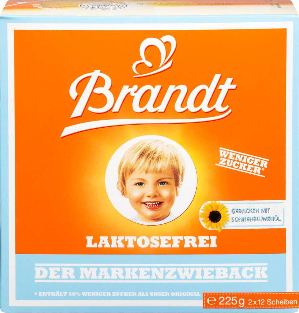 Abbildung des Sortimentsartikels Brandt Zwieback laktosefrei 225g