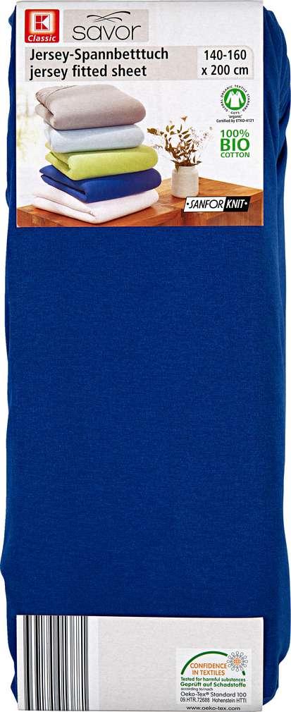 Abbildung des Sortimentsartikels K-Classic Jersey-Spannbetttuch dunkelblau 140-160 x 200cm