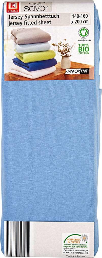 Abbildung des Sortimentsartikels K-Classic Jersey-Spannbetttuch hellblau 140-160 x 200cm