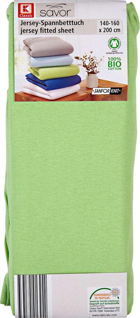 Abbildung des Sortimentsartikels K-Classic Jersey-Spannbetttuch grün 140-160 x 200cm