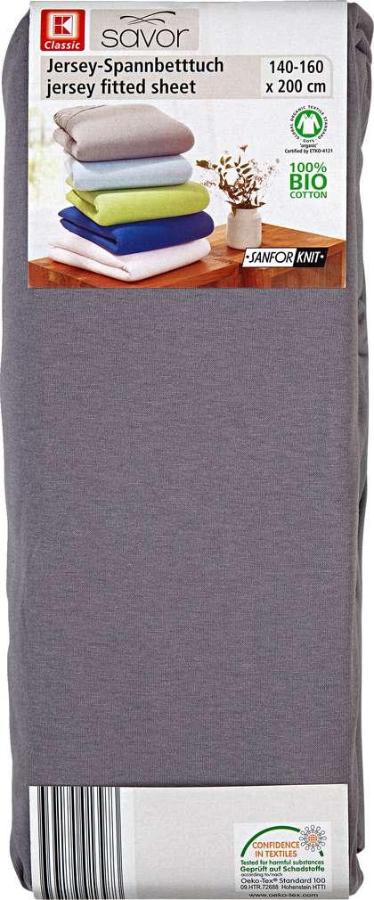 Abbildung des Sortimentsartikels Liv & Bo Jersey-Spannbetttuch grau 140-160 x 200cm