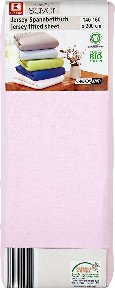 Abbildung des Sortimentsartikels K-Classic Jersey-Spannbetttuch rosa 140-160 x 200cm