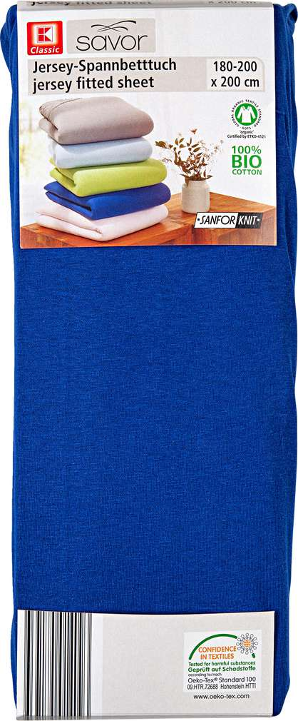 Abbildung des Sortimentsartikels Liv & Bo Jersey-Spannbetttuch blau 180-200 x 200cm
